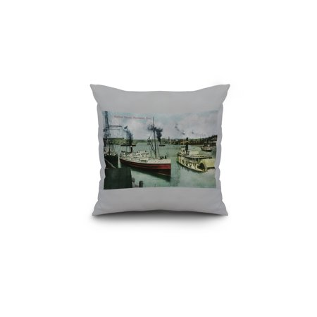 Harbor Scene in Portland Oregon 16x16 Spun Polyester Pillow Custom Bor