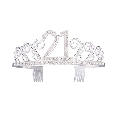 21st Birthday Party Tiara Sparkle Glitter Rhinestone Twinkling Princess Party Crown with Comb New