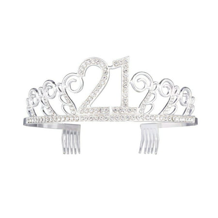 Birthday Tiaras (21st Birthday Tiara Sparkle Glitter Rhinestone Twinkling Princess Party Crown with Combs)
