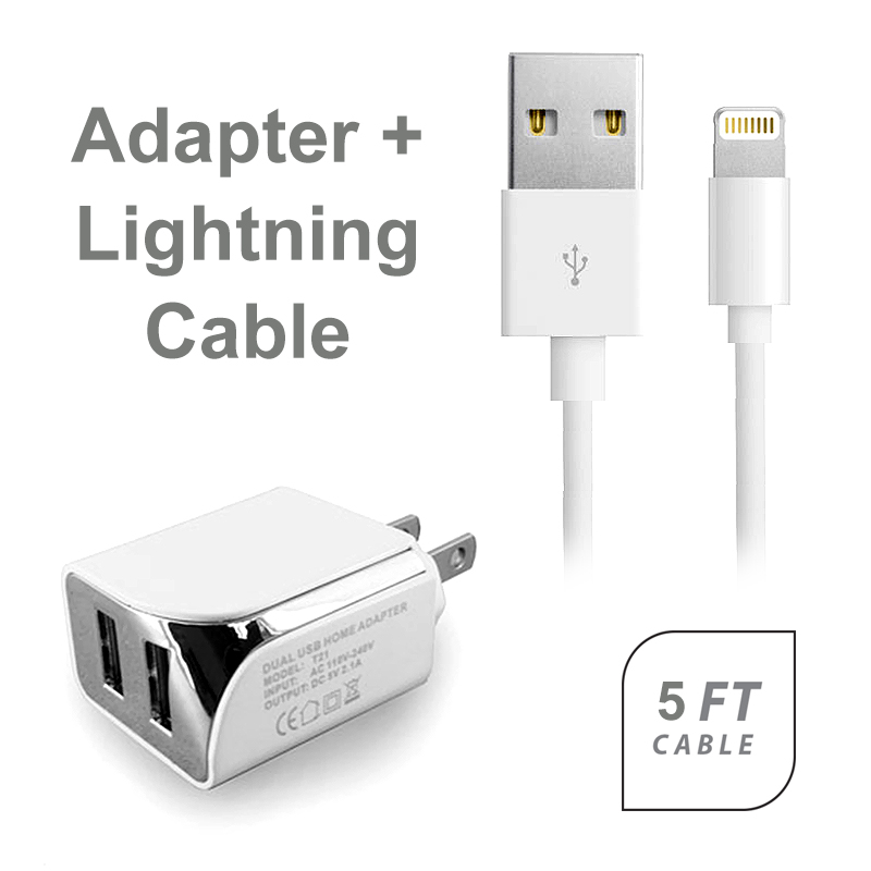 AT&T Apple iPad mini Accessory Kit, 2 in 1 White 2.1 Amp Dual USB Wall Adapter + 5 Feet 8 Pin Data Sync Charging Cable