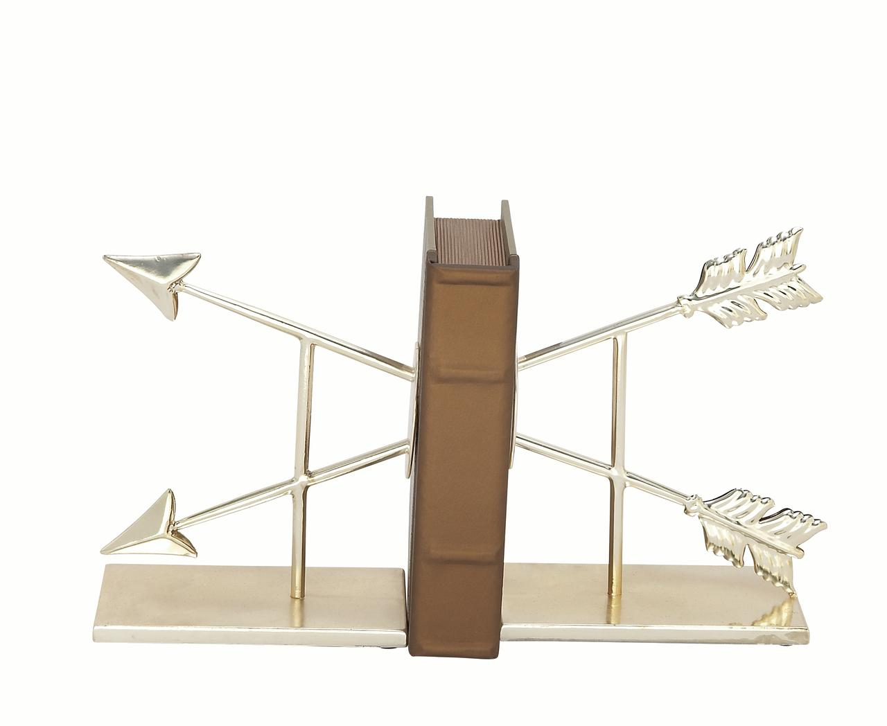 Decmode Pair of 9 Inch Glam-Inspired Split Arrow Iron Bookends, Silver by DecMode