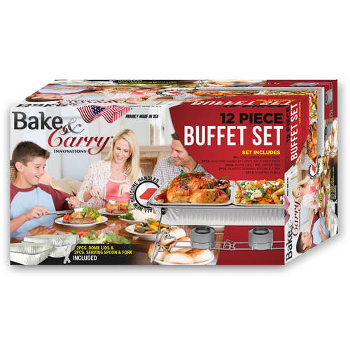 Bake and Carry 12-Piece Buffet Serving Set with Collapsible/Reusable Rack