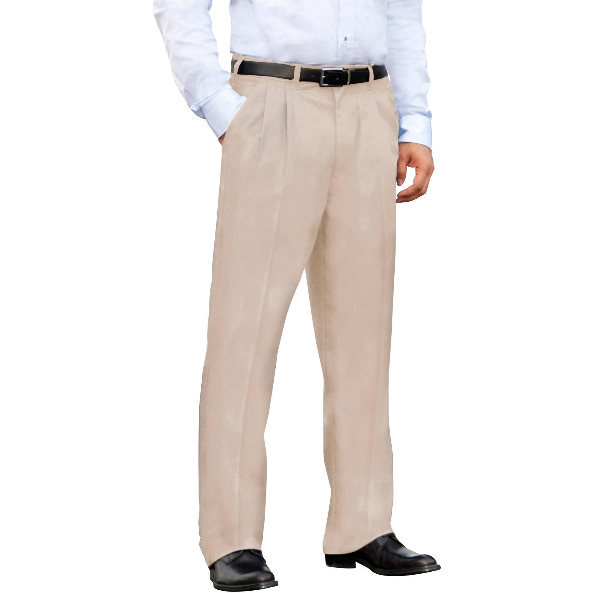 George - Big Men's Wrinkle-Resistant Pleat-Front Khaki Pants ...