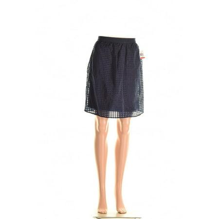 Maison Jules Womens Taffeta Bunout A-Line Skirt Navy S (Flocked Taffeta Skirt)