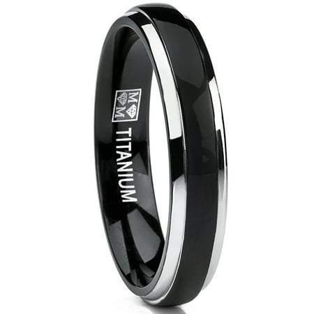 4mm Thin Dome Black Two Tome Titanium Wedding Band Engagement Ring, Comfort Fit Domed Titanium Wedding Band