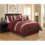 Unique Home Michri 7 Piece Comforter Set Striped Brown and Red Bed In a Bag Clearance Bedding Comforter Duvet, Fade Resistance, Super Soft(Queen, Burgundy)
