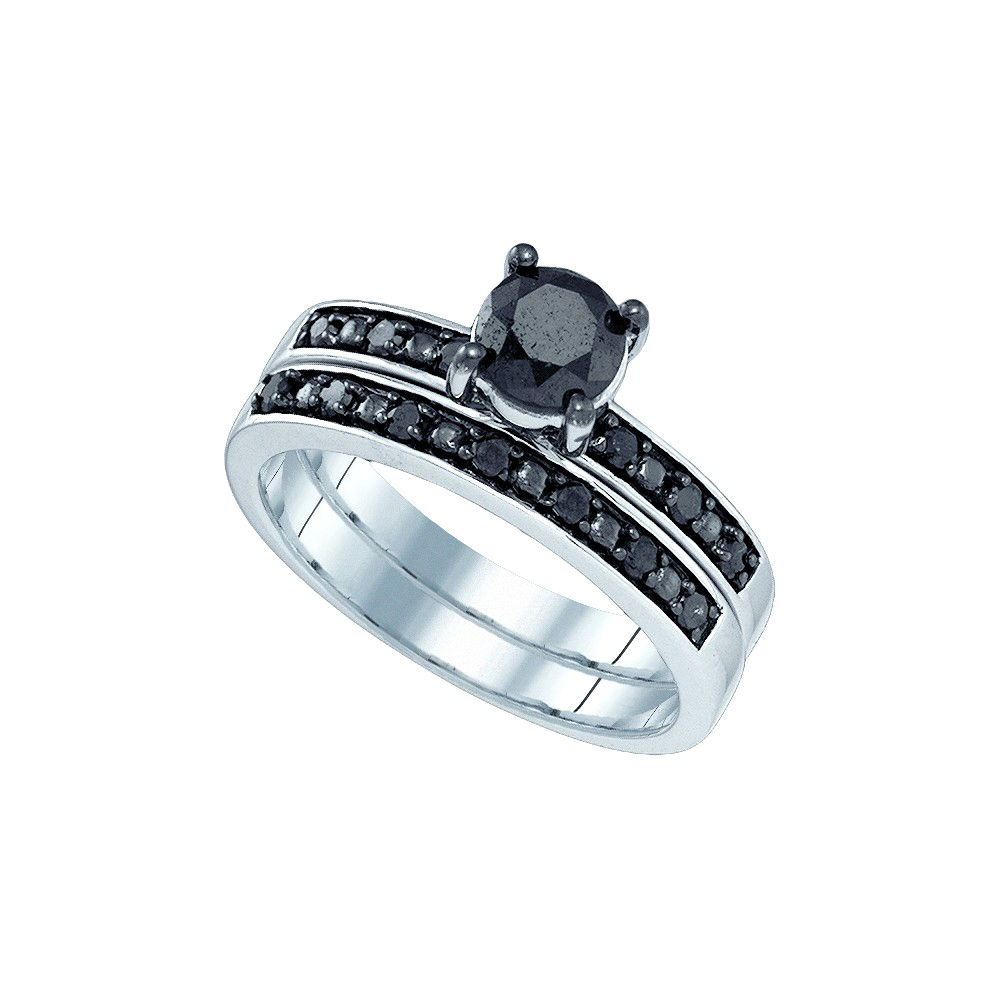 10kt White Gold Womens Round Black Colored Diamond Bridal Wedding Engagement Ring Band Set 1.00 Cttw by Brilliant Bijou