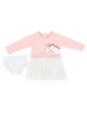 Little Lass Textured Knit Unicorn Tulle Dress (Baby Girls & Toddler Girls)