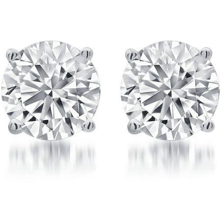 1/2 Carat T.W. Round White Diamond Sterling Silver Stud (Half Carat Diamond Stud)