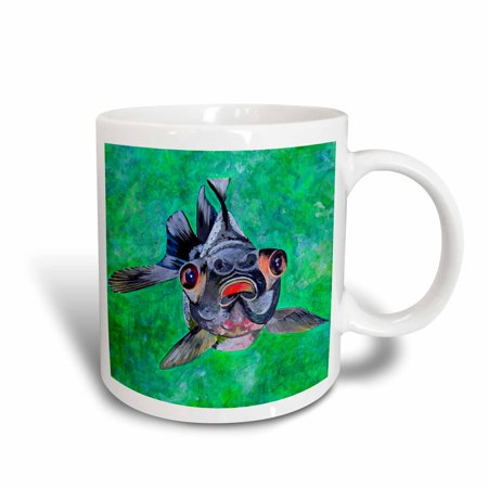 3dRose Black Moor Goldfish - black moor goldfish, telescope goldfish, goldfish, dragon eye goldfish, Ceramic Mug, 11-ounce