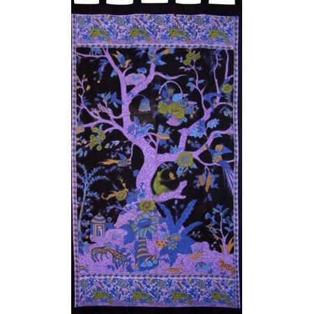 Tree of Life Tab Top Curtain Drape Panel Cotton 44