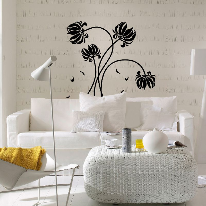 Brewster Home Fashions Wizard & Genius Black Flowers Wall Decal 43.3L 43.3W