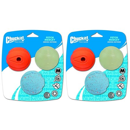Chuckit! Fetch Medley Balls Medium 6-Pack (2 Packages of 3), Designed especially for the game of fetch and lets your dog chase a different ball each.., By Canine Hardware ()