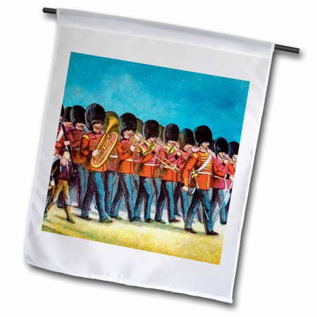 - 3dRose Victorian era marching band featuring brass instruments. - Garden Flag, 12 by 18-inch