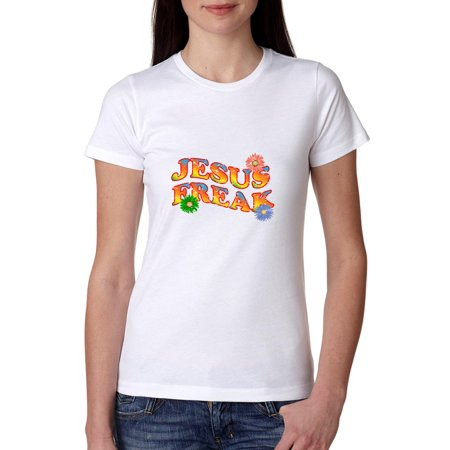 Jesus Freak - Colorful Flowers 70s Design - Christian Women's Cotton T-Shirt
