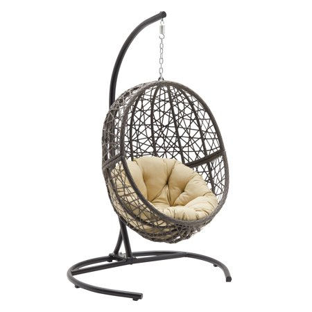 Belham Living Resin Wicker Hanging Egg Chair with Cushion and Stand