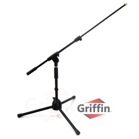 Short Microphone Stand with Boom Arm by Griffin Low Profile Mic Stand Mount for Kick Bass Drums, Desktop & Guitar Amplifiers Small Level Telescoping Boom Holder with Tripod -