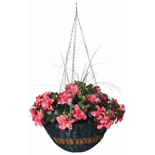 Round Resin Wicker Hanging Basket with Chain Hanger