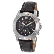 16016Sm-01-Oa Paradiso Diamonds Multi-Function Black Genuine Leather And Dial Ss Watch