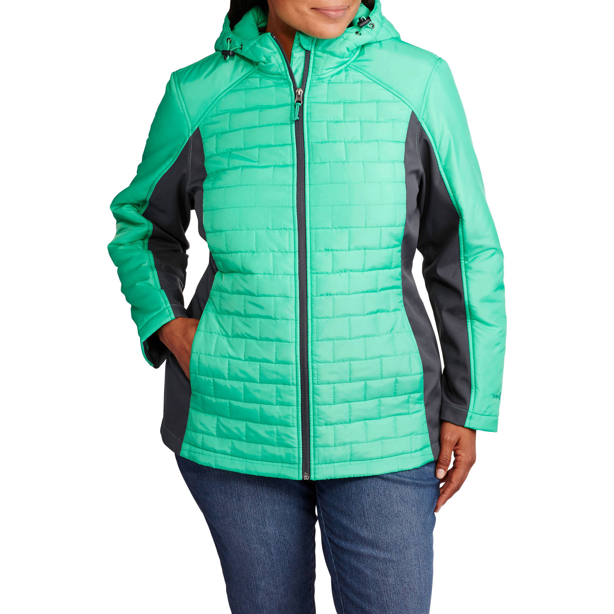 Free Tech Women's Plus-Size Sleek Quilted Jacket with Softshell Sleeves