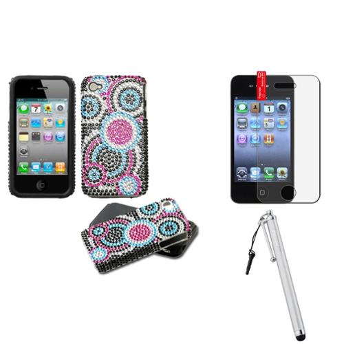 Insten Bubble Diamante Fusion Case For iPhone 4 4S + Stylus + Screen Protector