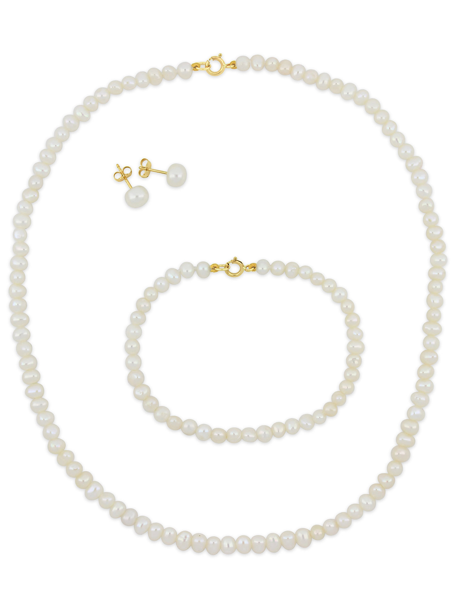 Freshwater Cultured Pearl 10k Yellow Gold Children's 3-Piece Necklace, Bracelet and Earrings Set