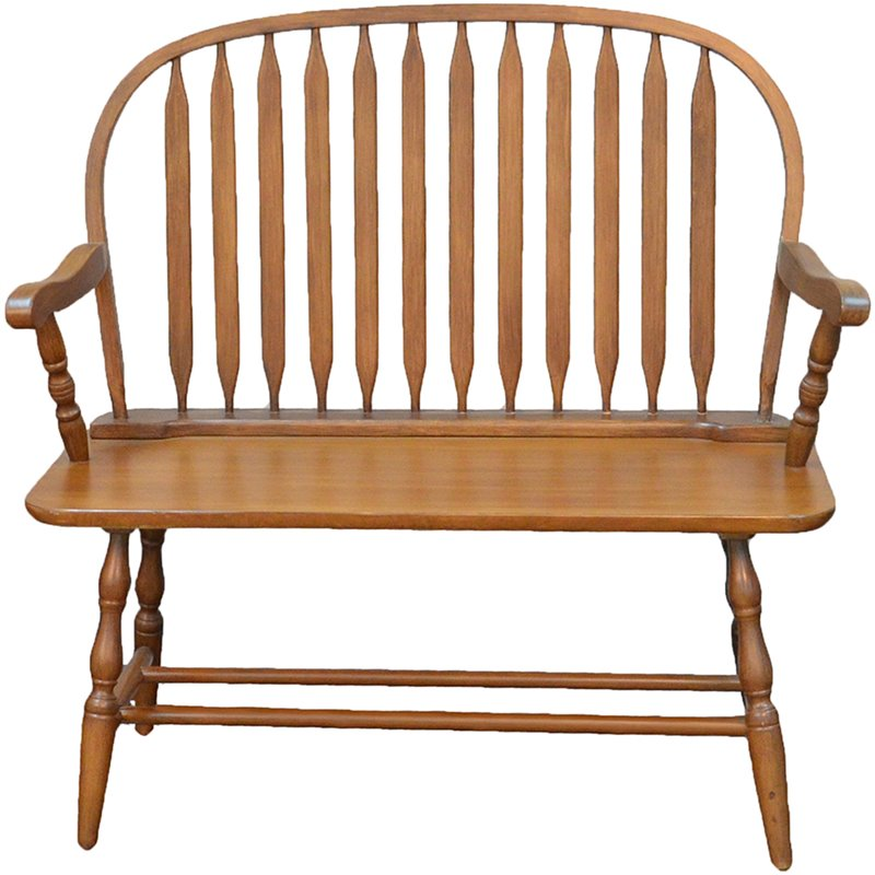 Carolina Classics Windsor Living Room Bench in American Oak