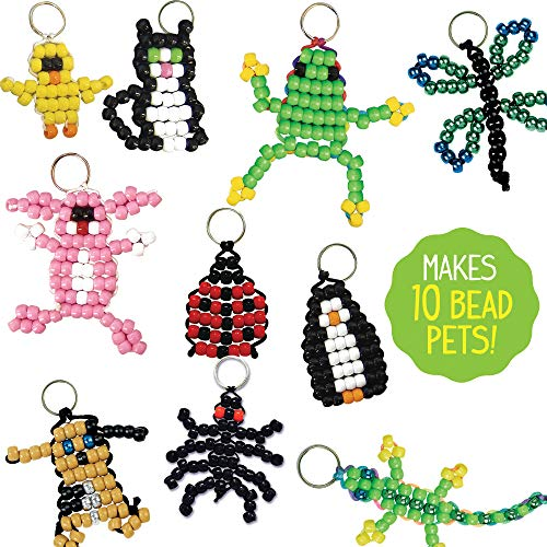 Includes Over 600 Pony Beads Storage Box /& Much More Made By Me Create Your Own Bead Pets by Horizon Group USA 6 Key Rings