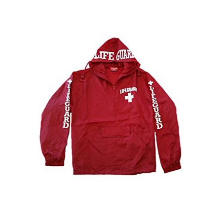 Lifeguard Windbreaker Quarter Zip Jacket - Water and Wind Resistant 100% Nylon Ideal for Men, Teens, Girls.