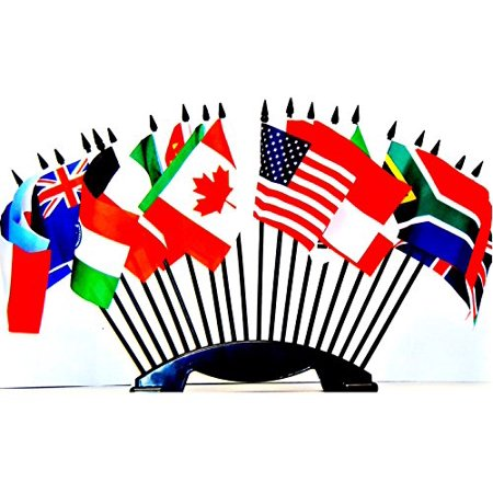 G-20 (Group of 20) WORLD FLAG SET with BASE--20 Polyester 4