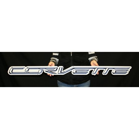 "C7 Stingray ""CORVETTE"" Script Metal Sign Large Wall Emblem - 50"" x 4"""