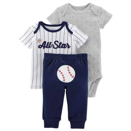 Child Of Mine By Carters Baby Boy Shirt  Bodysuit    Pants  3Pc Outfit Set