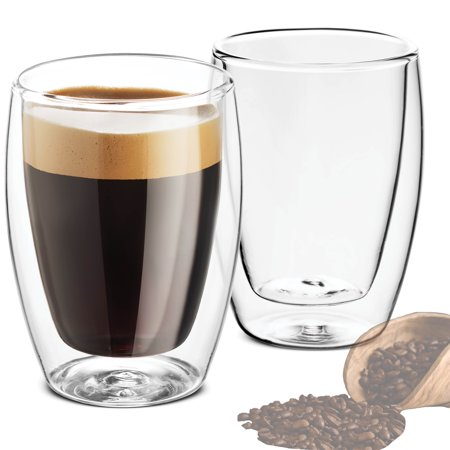 Double Walled Glass Coffee Mugs - 9 Ounce (2 Pack) Insulated Tea Glasses, Drinking Cups, for Latte, Espresso, Cappuccino, Water, Juice, for Hot - Cold Beverages Thermal Shock Resistant Builder 9 Ounce Cups