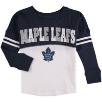 Product Image Toronto Maple Leafs 5th   Ocean by New Era Girls Youth Baby  Jersey Long Sleeve Stripe 6d238b60d