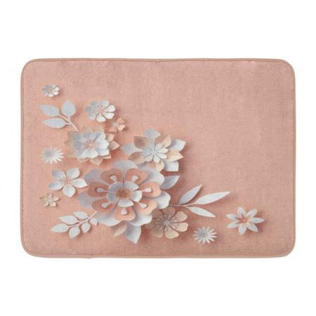 GODPOK White Arrangement 3D Render Abstract Flowers Corner Peachy Rose Pink Floral Craft Design Beautiful Rug Doormat Bath Mat 23.6x15.7 inch