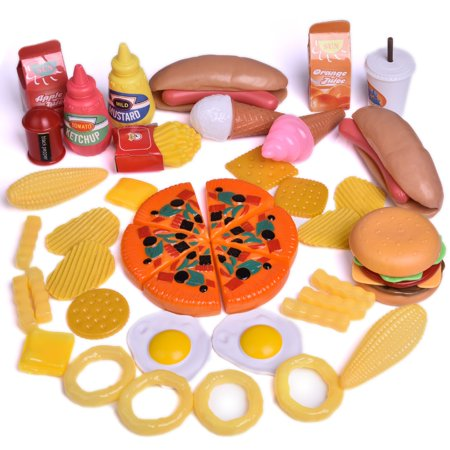 Fast Food Drink Pretend Play Kitchen Toy Set for Kids with Hamburgers, Ice creams, Pizza, Hotdogs and fries 49 PCs F-157