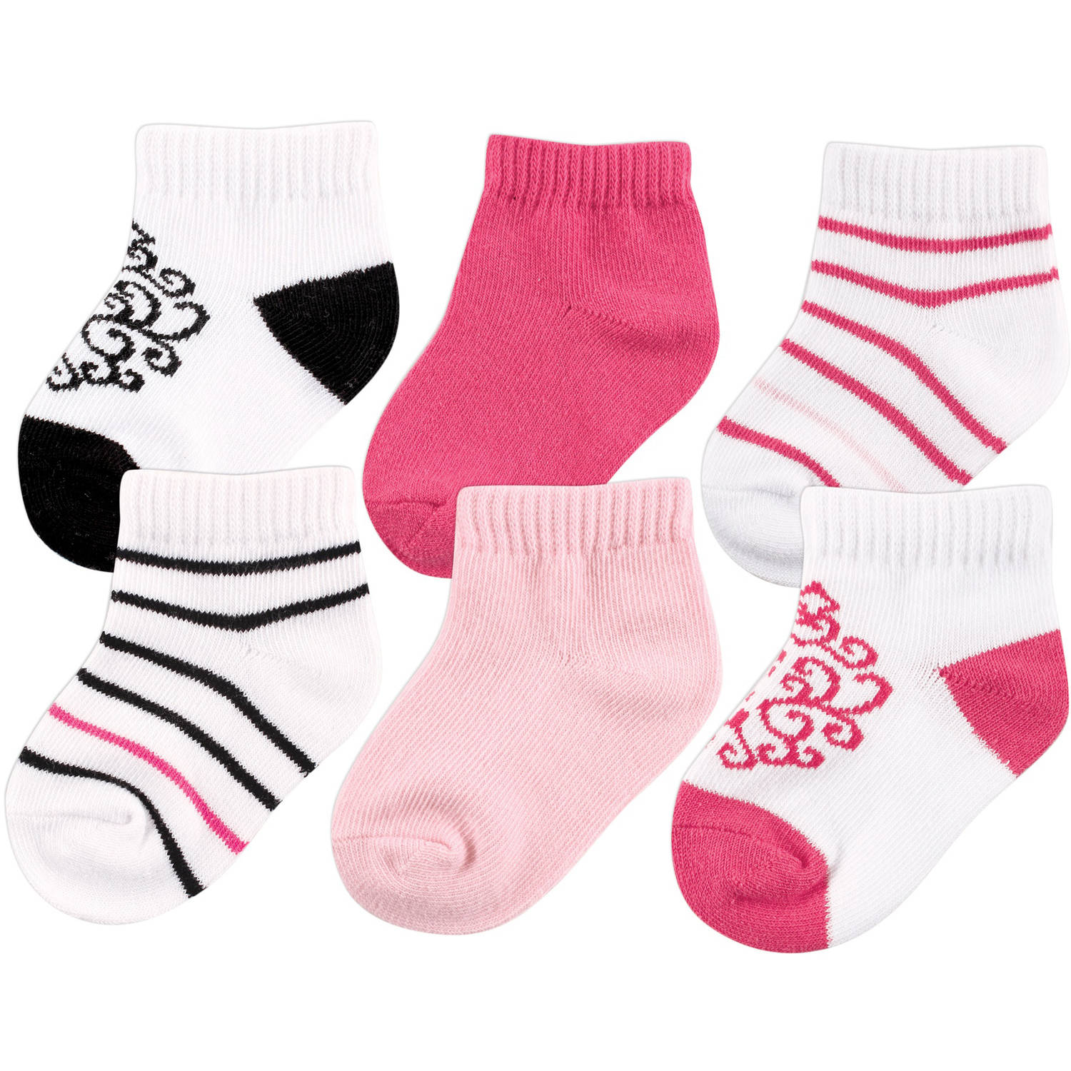Yoga Sprout Newborn Baby Girls No-Show Socks 6-Pack