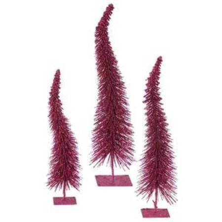 """Vickerman 12""""-14""""-16"""" Set of Three Dark Mauve Glitter Curved Artificial Trees. For indoor use only. - image 1 of 1"""