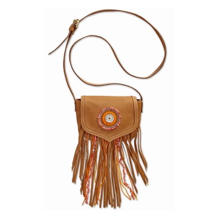 Sam Edleman Ariana Womens Fringe Leather Crossbody Handbag Saddle Brown