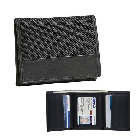 Travelon Rfid Blocking Mens Tri Fold Wallet Black Credit Card Holder Protection