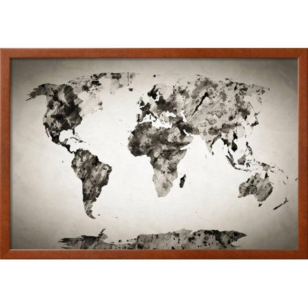 Watercolor world map black and white paint on paper retro style watercolor world map black and white paint on paper retro style hd quality framed print wall art by michal bednarek walmart gumiabroncs Image collections