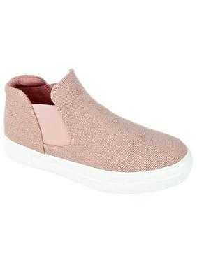 Soda Flat Women Chelsea Shoes Slip On Canvas Casual High Top Hidden Platform Sneakers White Sole Flatform Cushion Foam WOODS-S Pink Mauve 5.5