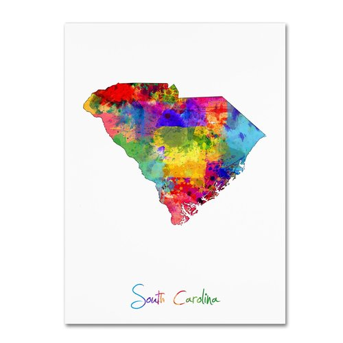 "Trademark Fine Art ""South Carolina Map"" Canvas Art by Michael Tompsett"