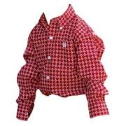 Western Shirt Boys Kids L/S Button Logo Pocket Red MTW7061136