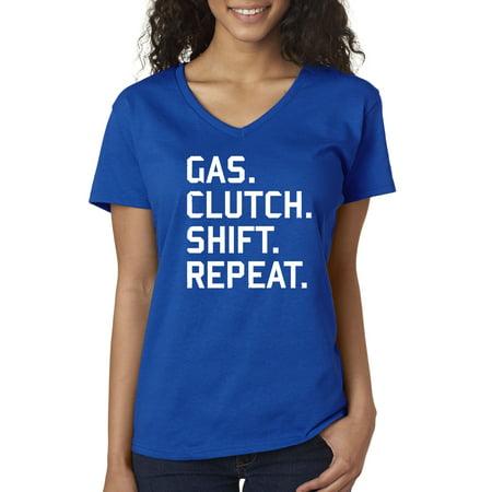 - New Way 864 - Women's V-Neck T-Shirt Gas Clutch Shift repeat Car Lifestyle Medium Royal Blue