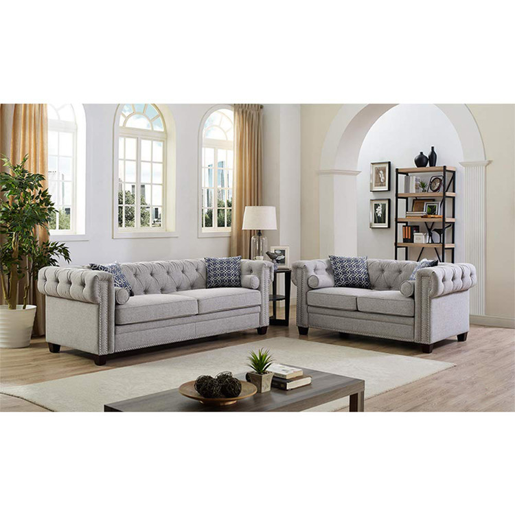 High Quality 2 Piece Classic Linen Fabric Scroll Arm Tufted Button Chesterfield Style  Loveseat Couch Living Room