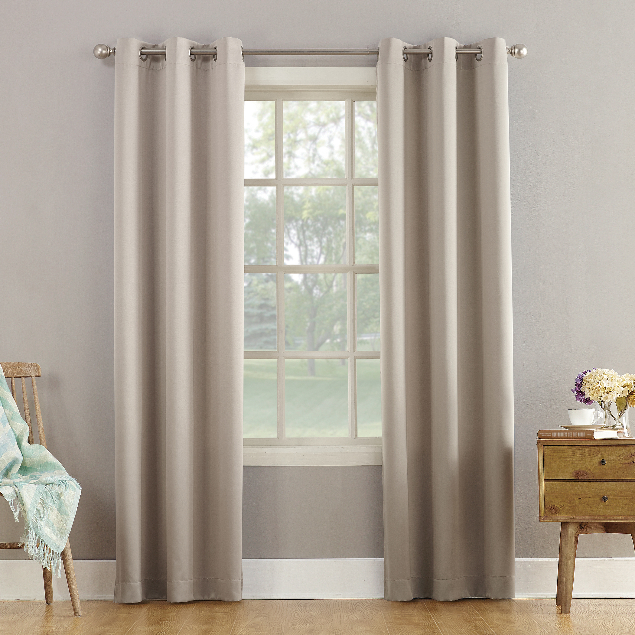 Sun Zero Arya Room Darkening Grommet Curtain Panel