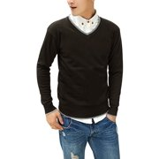 Azzuro Men's V Neck Contrast Collar Ribbed Trim Casual Slim Fit Sweater (Size M / 38)
