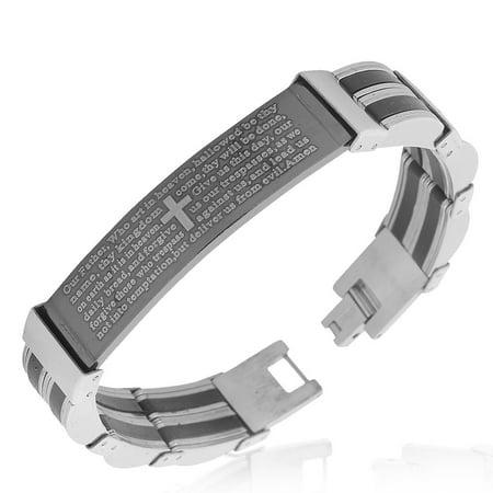 Stainless Steel Black Silver-Tone Lords Prayer in English Mens Link - Black Link Bracelet