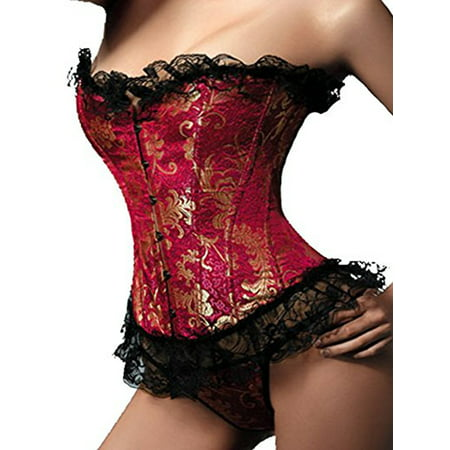 SAYFUT Women's Plus Size Corset Top Classic Retro Lace Overbust Corset Lingerie Waist Cincher Trainer Corset Body Shaper Waist Nipper Girdle Shapewear Red/Blue
